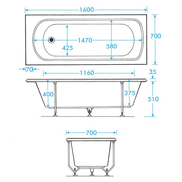 trojan derwent standard 5mm acrylic bath 1600 x 700mm