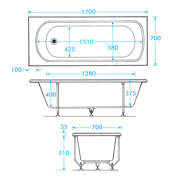 Trojan Derwent Standard 5mm Acrylic Bath 1700 X 700mm