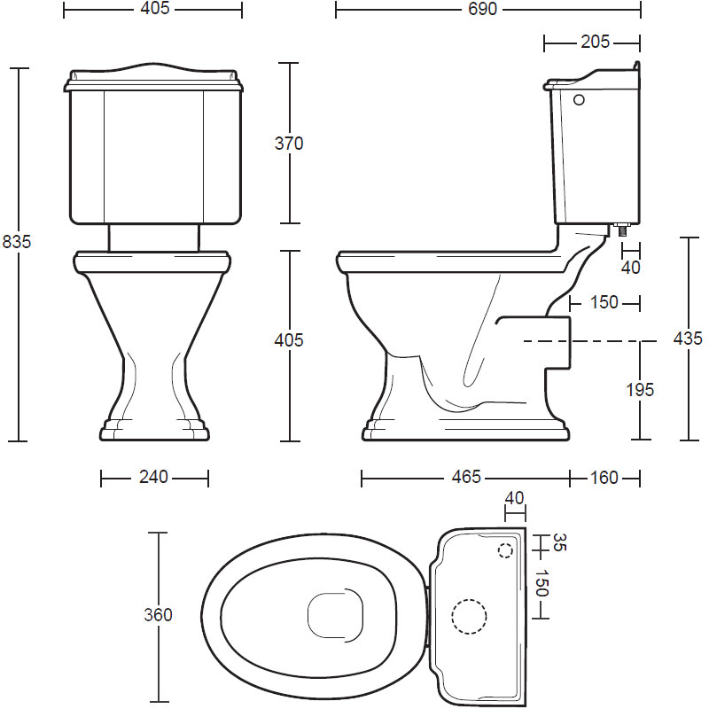 Standard Toilet Dimensions Imperial : Imperial Drift Close Coupled Toilet Pan And Cistern
