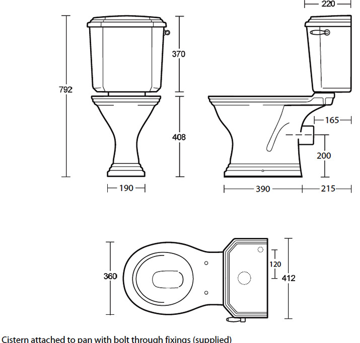 Standard Toilet Dimensions Imperial : Imperial Astoria Deco Round Bowl Pan And Close Coupled Cistern