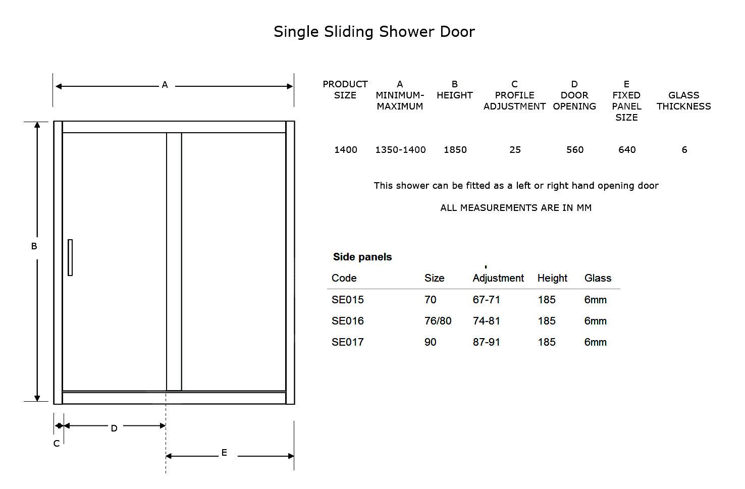 Phoenix 6mm Glass Single Sliding Door 1400mm