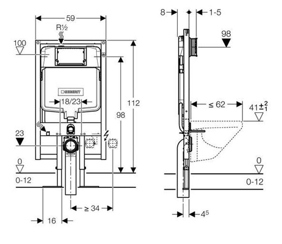 geberit duofix wc frame h112 with sigma 8cm cistern up720. Black Bedroom Furniture Sets. Home Design Ideas