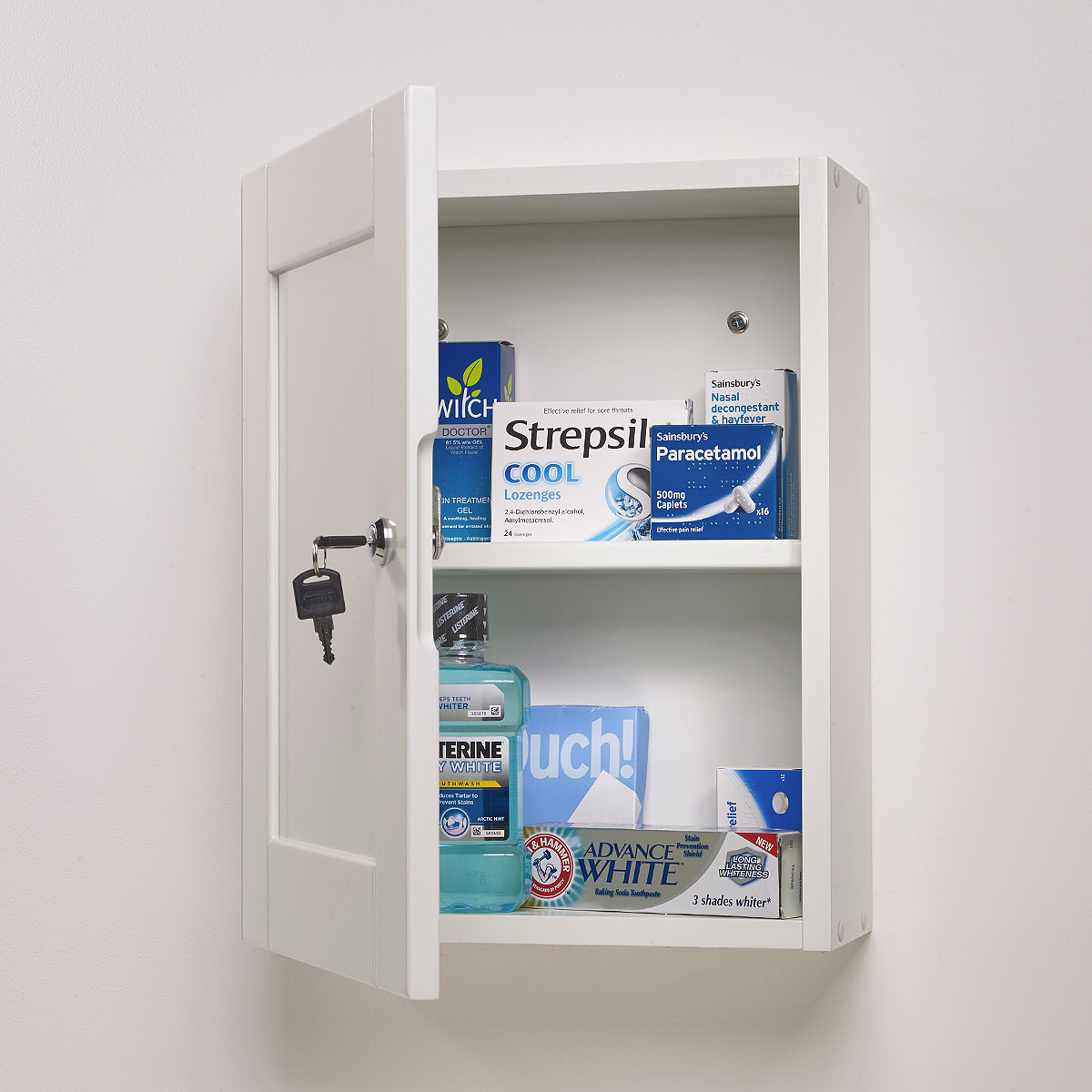 roper rhodes medicab white 334mm lockable medicine cabinet