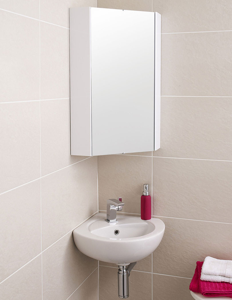 Corner bathroom cabinets white gloss - Lauren High Gloss White Wall Mounted Corner Mirror Cabinet