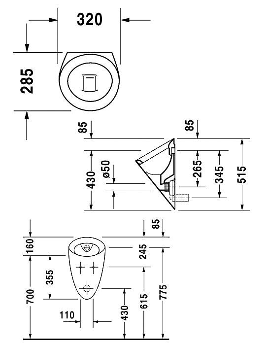 duravit starck 2 320mm urinal with concealed inlet and outlet. Black Bedroom Furniture Sets. Home Design Ideas