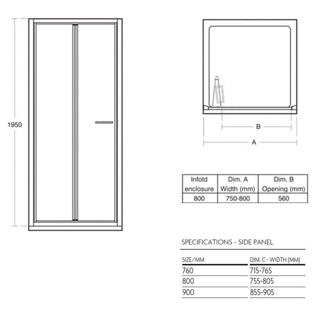 Ideal Standard Kubo 800mm Bifold Shower Door
