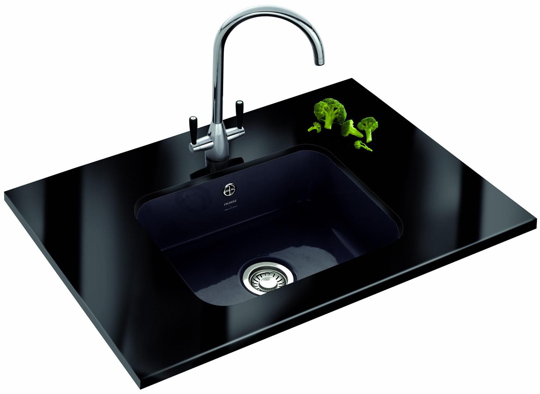Franke Black Undermount Sink : Franke VBK 110 50 Ceramic 1.0 Bowl Black Undermount Sink
