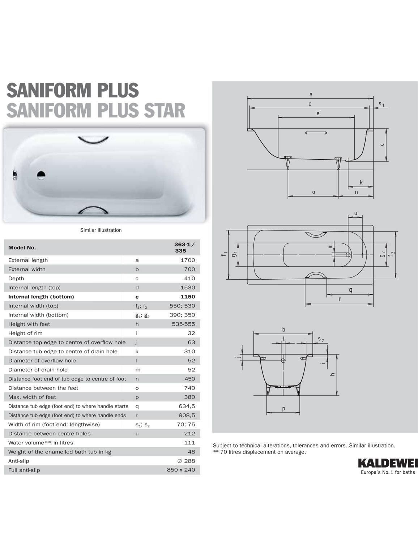 kaldewei saniform plus star 335 single end steel bath 1700 x 700mm. Black Bedroom Furniture Sets. Home Design Ideas