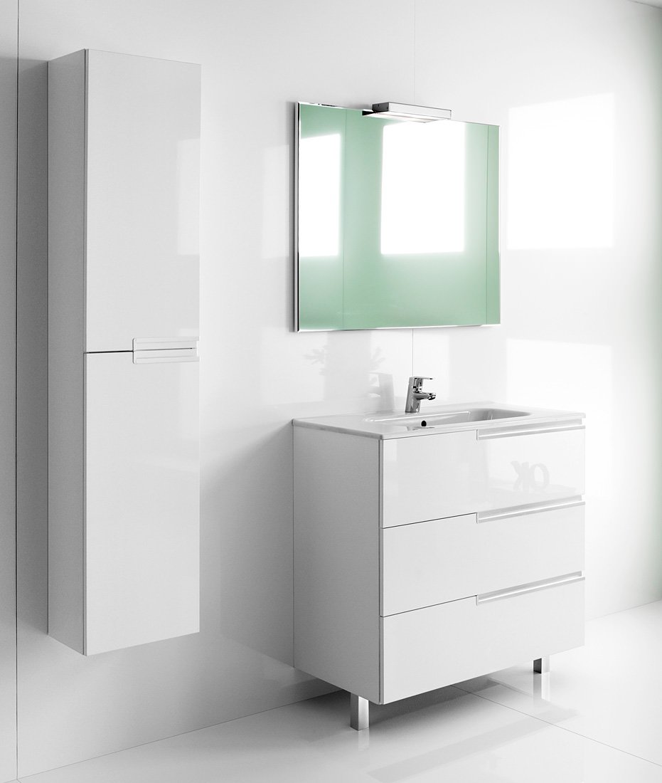 Roca victoria n unik basin and unit with 3 drawers 600mm for Bathroom cabinets 800mm high