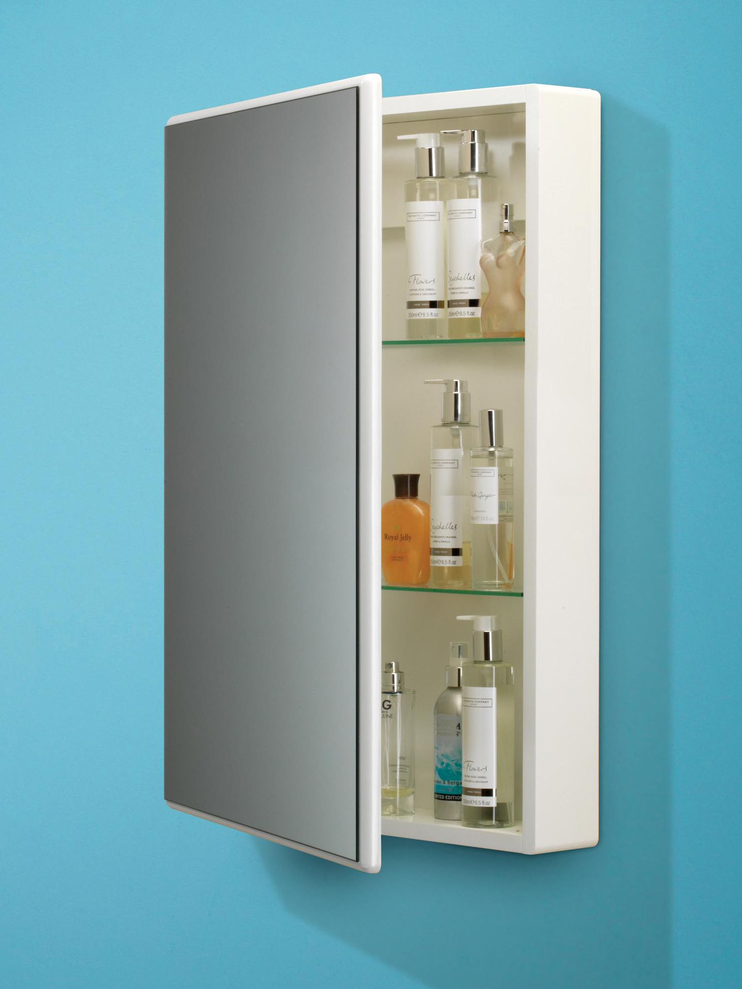 Hib tulsa slimline white single door mirrored cabinet 500 for Slim mirrored bathroom cabinet