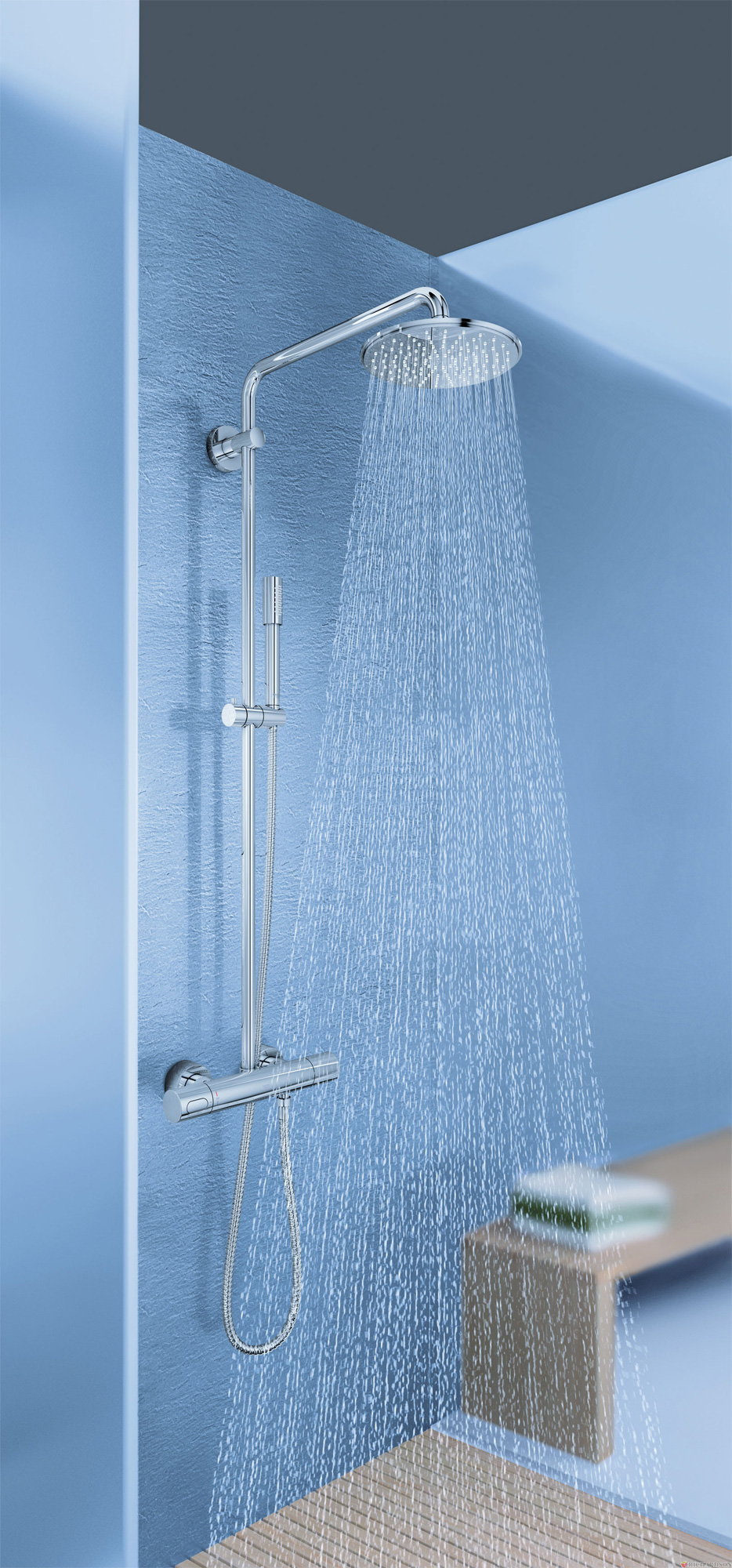 grohe spa rainshower wall mounted shower system with. Black Bedroom Furniture Sets. Home Design Ideas