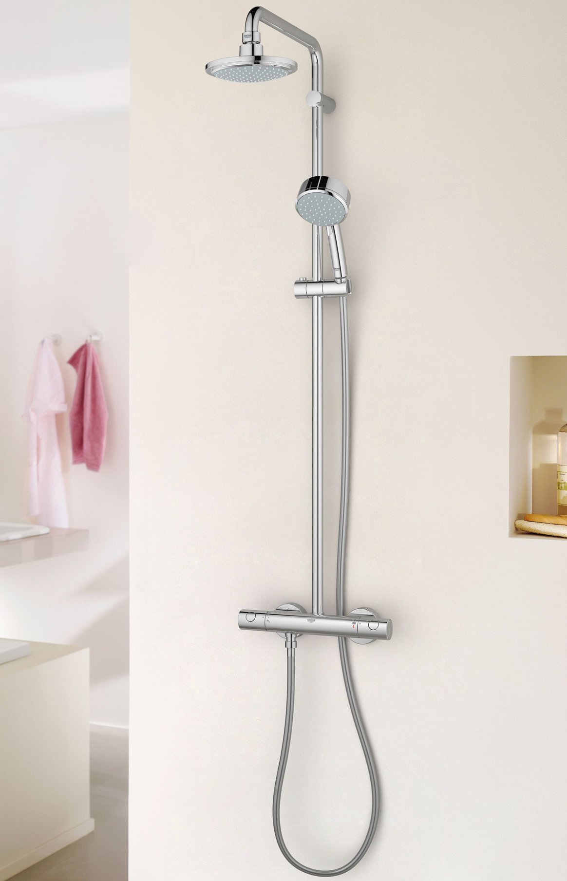 Grohe new tempesta cosmopolitan shower system with thermostat for Grohe cosmopolitan 1000 thermostat