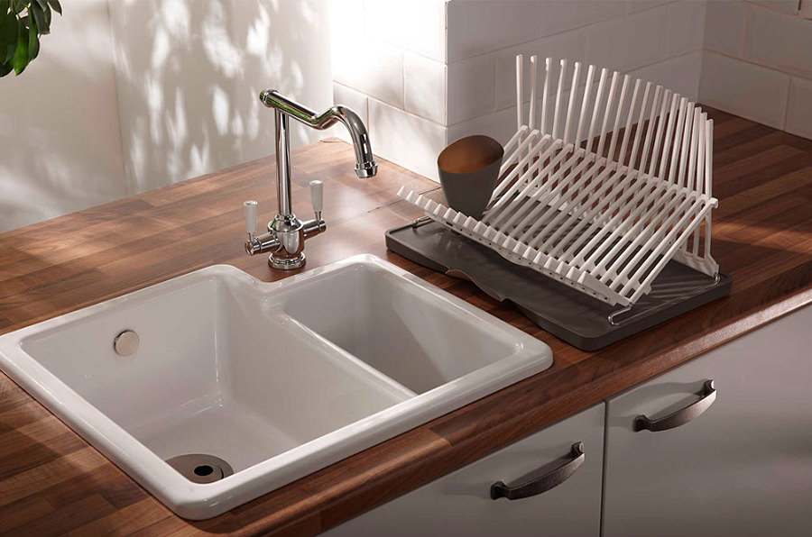 Abode matrix cr25 white ceramic left hand main bowl 1 5 - Undermount ceramic kitchen sink ...