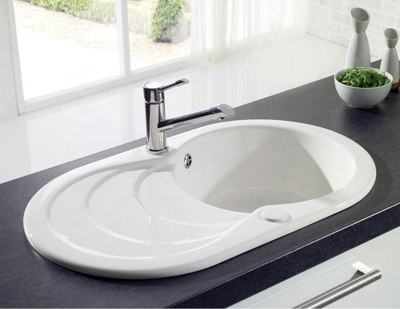 astracast cascade white or black ceramic inset sink 1 0 bowl. Black Bedroom Furniture Sets. Home Design Ideas