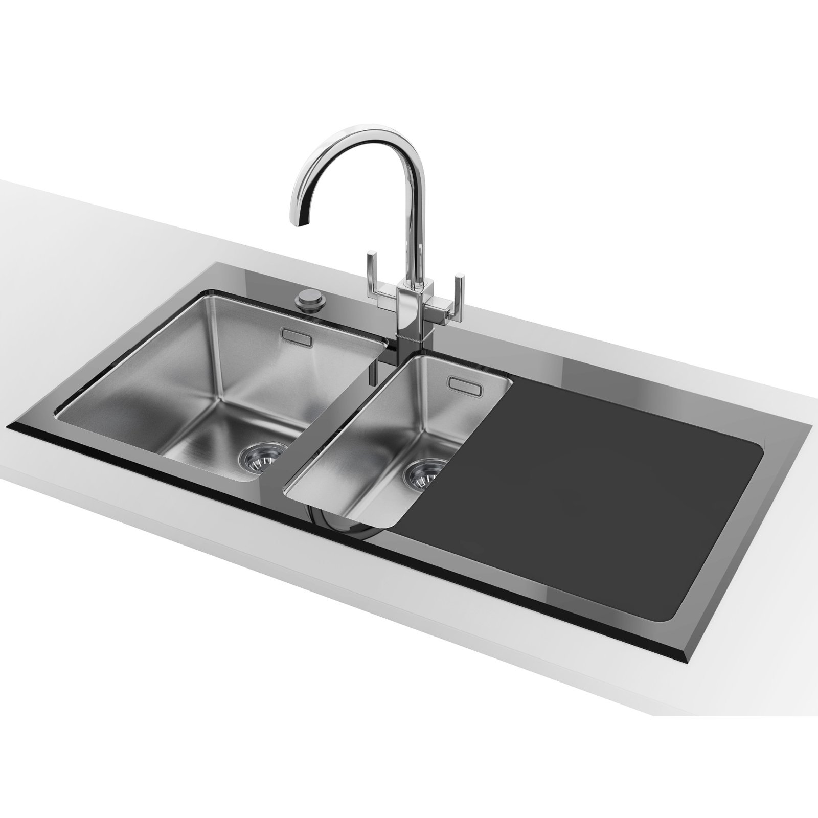 Glass top bathroom sinks - Franke Kubus Kbv 651 1 5 Bowl Rh Drainer Black Glass Inset