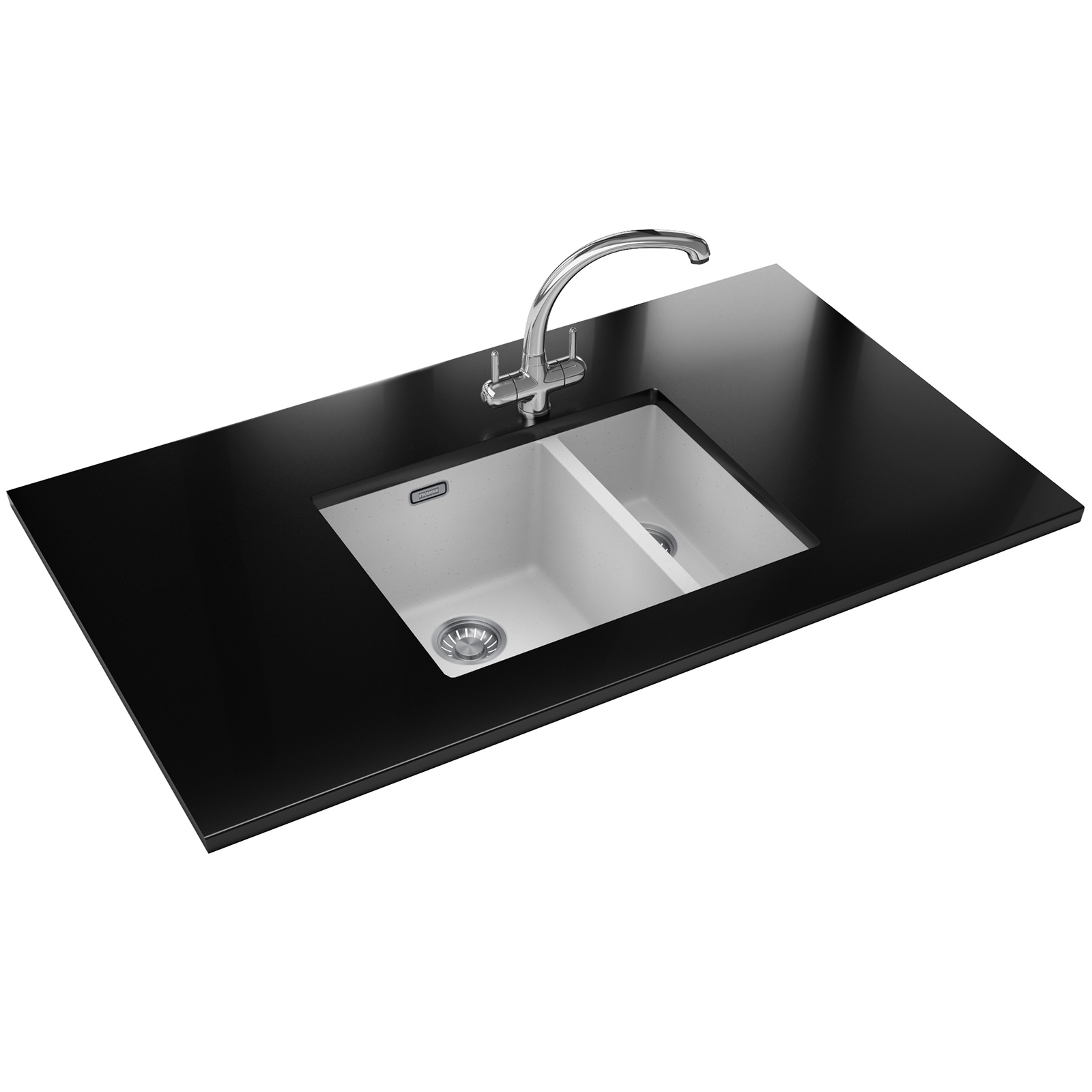 Franke White Composite Sink : Franke Sirius SID 160 Tectonite 1.5 Bowl White Undermount Sink