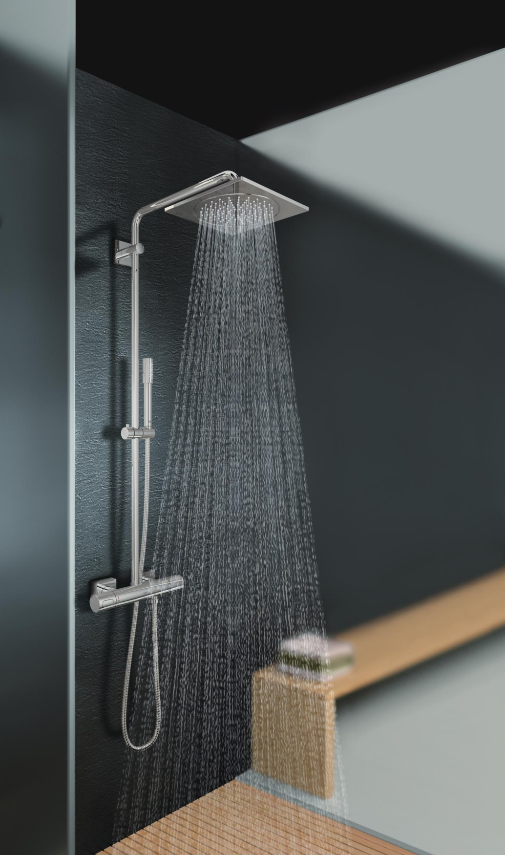 grohe spa rainshower f series thermostatic shower system. Black Bedroom Furniture Sets. Home Design Ideas